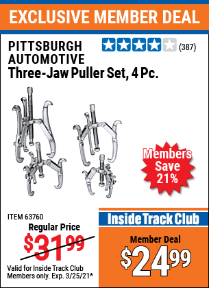 Harbor Freight Tools Coupons, Harbor Freight Coupon, HF Coupons-Three-jaw Puller 4 Piece Set