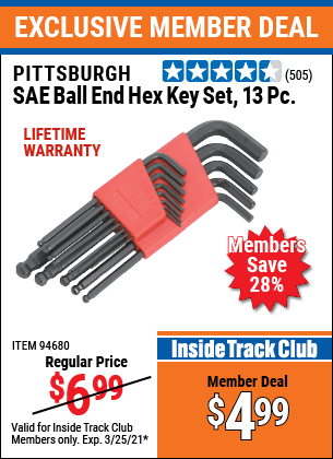 Harbor Freight Tools Coupons, Harbor Freight Coupon, HF Coupons-13 Piece Ball End Hex Key Sets