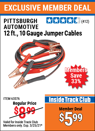 Harbor Freight Tools Coupons, Harbor Freight Coupon, HF Coupons-12 Ft., 10 Gauge Booster Cables