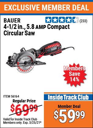Harbor Freight Tools Coupons, Harbor Freight Coupon, HF Coupons-4-1/2 In. 5.8 Amp Compact Circular Saw