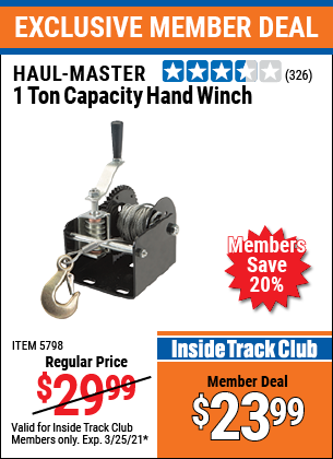 Harbor Freight Tools Coupons, Harbor Freight Coupon, HF Coupons-1 Ton Capacity Hand Winch