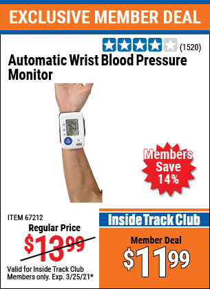 Harbor Freight Tools Coupons, Harbor Freight Coupon, HF Coupons-Automatic Wrist Blood Pressure Monitor