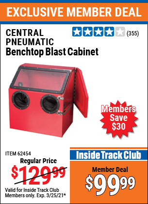 Harbor Freight Tools Coupons, Harbor Freight Coupon, HF Coupons-30 Lb. Capacity Abrasive Benchtop Blast Cabinet