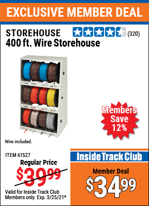 Harbor Freight Tools Coupons, Harbor Freight Coupon, HF Coupons-400 Ft. Wire And Wire Storage