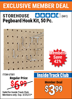 Harbor Freight Tools Coupons, Harbor Freight Coupon, HF Coupons-50 Piece Pegboard Hook Kit