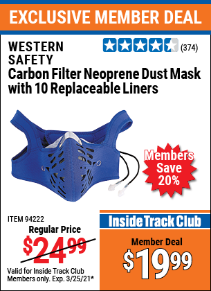 Harbor Freight Tools Coupons, Harbor Freight Coupon, HF Coupons-Carbon Filter Neoprene Dust Mask With Replaceable Liners