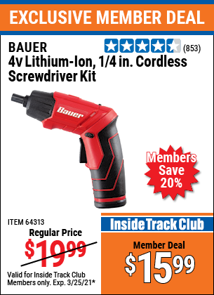 Harbor Freight Tools Coupons, Harbor Freight Coupon, HF Coupons-Bauer 3.7 Volt, 1/4