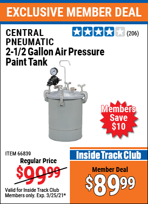 Harbor Freight Tools Coupons, Harbor Freight Coupon, HF Coupons-2-1/2 Gallon Air Pressure Paint Tank