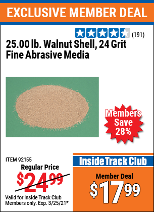 Harbor Freight Tools Coupons, Harbor Freight Coupon, HF Coupons-25 Lb. Fine Grade Walnut Shell Blast Media
