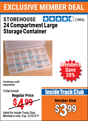 Harbor Freight Tools Coupons, Harbor Freight Coupon, HF Coupons-24 Compartment Large Storage Container