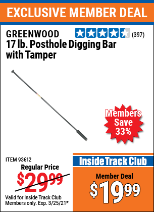 Harbor Freight Tools Coupons, Harbor Freight Coupon, HF Coupons-17 Lb. Posthole Digging Bar With Tamper