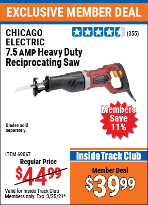Harbor Freight Tools Coupons, Harbor Freight Coupon, HF Coupons-7.5 Amp Heavy Duty Reciprocating Saw
