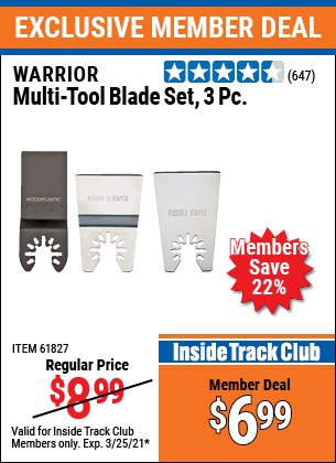 Harbor Freight Tools Coupons, Harbor Freight Coupon, HF Coupons-3 Piece Multi-tool Blade Set