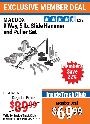 Harbor Freight Tools Coupons, Harbor Freight Coupon, HF Coupons-Maddox 9 Way, 5 Lb. Slide Hammer Puller Set