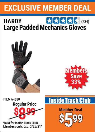 Harbor Freight Tools Coupons, Harbor Freight Coupon, HF Coupons-Hardy Padded Mechanic's Gloves