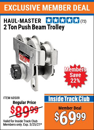 Harbor Freight Tools Coupons, Harbor Freight Coupon, HF Coupons-2 Ton Push Beam Trolley