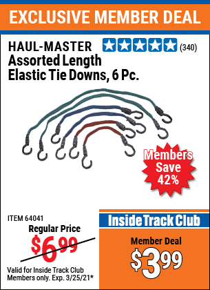 Harbor Freight Tools Coupons, Harbor Freight Coupon, HF Coupons-6 Piece Flat Bungee Elastic Stretch Cords