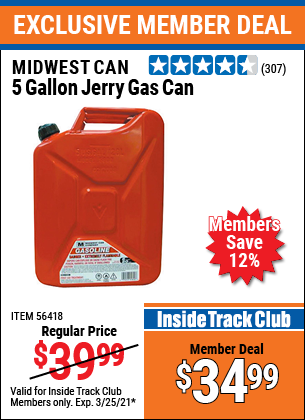 Harbor Freight Tools Coupons, Harbor Freight Coupon, HF Coupons-5 Gallon Jerry Gas Can