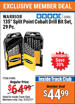 Harbor Freight Tools Coupons, Harbor Freight Coupon, HF Coupons-29 Piece 135 Split Point Cobalt Drill Bit Set