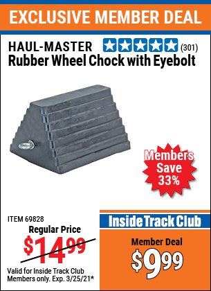 Harbor Freight Tools Coupons, Harbor Freight Coupon, HF Coupons-Rubber Wheel Chock With Eyebolt