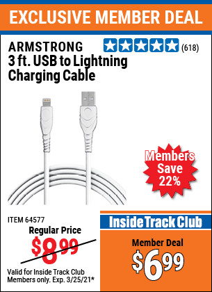 Harbor Freight Tools Coupons, Harbor Freight Coupon, HF Coupons-3 Ft. Lightning Cable For Iphone