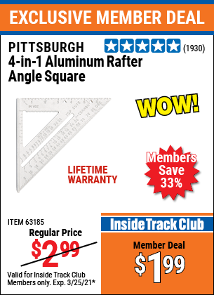 Harbor Freight Tools Coupons, Harbor Freight Coupon, HF Coupons-4-in-1 Aluminum Rafter Angle Square