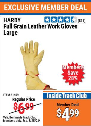 Harbor Freight Tools Coupons, Harbor Freight Coupon, HF Coupons-Full Grain Leather Work Gloves - Large