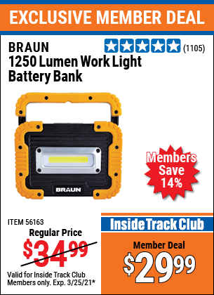 Harbor Freight Tools Coupons, Harbor Freight Coupon, HF Coupons-1250 Lumen Rechargeable Work Light Battery Bank
