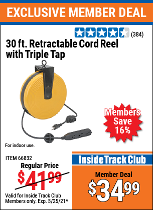Harbor Freight Tools Coupons, Harbor Freight Coupon, HF Coupons-30 Ft. Retractable Cord Reel With Triple Tap