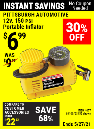 Harbor Freight Tools Coupons, Harbor Freight Coupon, HF Coupons-12 Volt, 150 Psi Portable Inflator