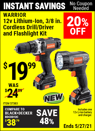 Harbor Freight Tools Coupons, Harbor Freight Coupon, HF Coupons-12v Lithium-Ion 3/8 in.  Cordless Drill/Driver and Flashlight Kit