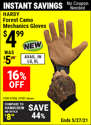Harbor Freight Tools Coupons, Harbor Freight Coupon, HF Coupons-Forest Camo Mechanics Gloves, X-Large
