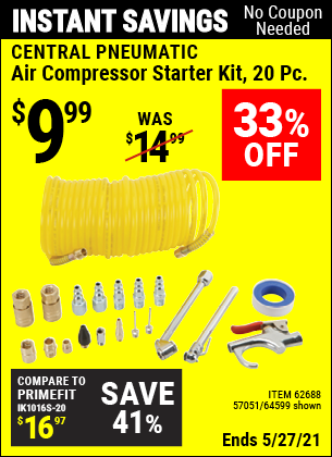 Harbor Freight Tools Coupons, Harbor Freight Coupon, HF Coupons-20 Piece Air Compressor Starter Kit