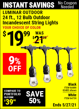 Harbor Freight Tools Coupons, Harbor Freight Coupon, HF Coupons-24 Ft., 18 Bulb, 12 Socket Outdoor Linkable String Lights