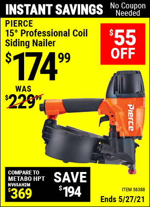 Harbor Freight Tools Coupons, Harbor Freight Coupon, HF Coupons-15° Professional Coil Siding Nailer