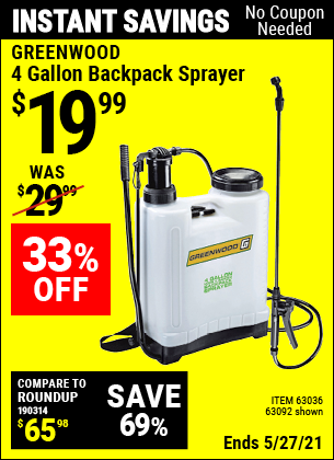 Harbor Freight Tools Coupons, Harbor Freight Coupon, HF Coupons-4 Gallon Backpack Sprayer