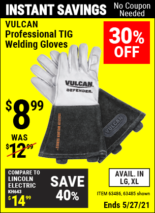 Harbor Freight Tools Coupons, Harbor Freight Coupon, HF Coupons-Vulcan Professional Tig Welding Gloves