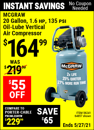 Harbor Freight Tools Coupons, Harbor Freight Coupon, HF Coupons-Mcgraw 20 Gallon, 135 Psi Oil-lube Air Compressor