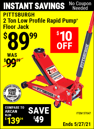 Harbor Freight Tools Coupons, Harbor Freight Coupon, HF Coupons-Rapid Pump 2 Ton Low Profile Floor Jack