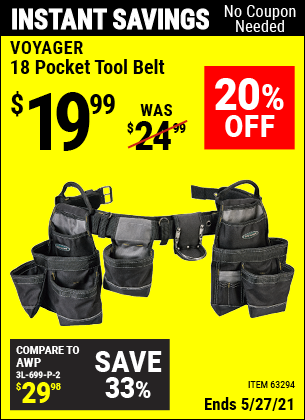 Harbor Freight Tools Coupons, Harbor Freight Coupon, HF Coupons-18 Pocket Heavy Duty Tool Belt