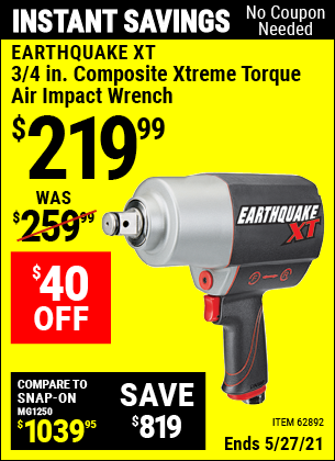 Harbor Freight Tools Coupons, Harbor Freight Coupon, HF Coupons-Earthquake 3/4