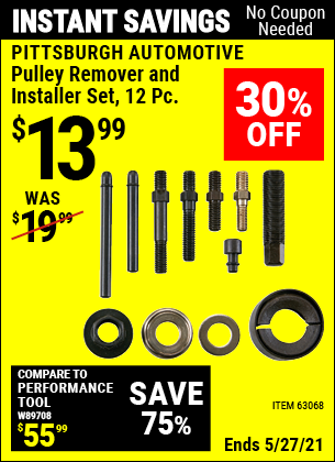 Harbor Freight Tools Coupons, Harbor Freight Coupon, HF Coupons-12 Piece Pulley Remover And Installer Set