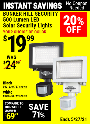 Harbor Freight Tools Coupons, Harbor Freight Coupon, HF Coupons-500 Lumens Led Solar Security Light