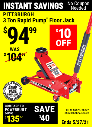 Harbor Freight Tools Coupons, Harbor Freight Coupon, HF Coupons-Rapid Pump 3 Ton Steel Heavy Duty Floor Jack