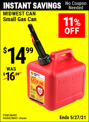 Harbor Freight Tools Coupons, Harbor Freight Coupon, HF Coupons-Small Gas Can