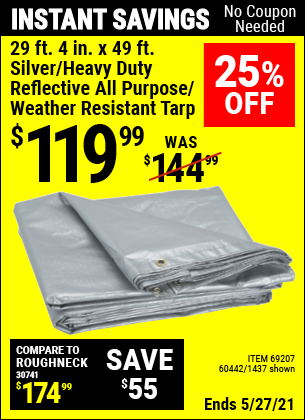 Harbor Freight Tools Coupons, Harbor Freight Coupon, HF Coupons-29 ft. 4 in. x 49 ft. Silver/Heavy Duty Reflective All Purpose/Weather Resistant Tarp