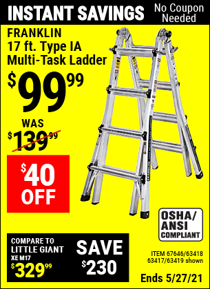 Harbor Freight Tools Coupons, Harbor Freight Coupon, HF Coupons-17 Foot Type Ia Muti Task Ladder
