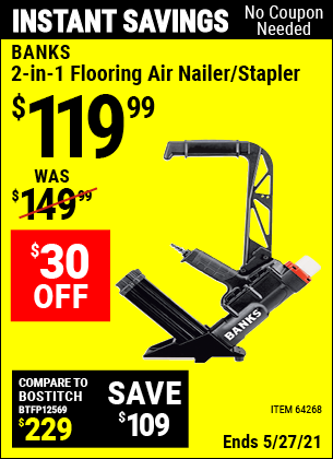 Harbor Freight Tools Coupons, Harbor Freight Coupon, HF Coupons-2 In 1 Flooring Air Nailer/stapler