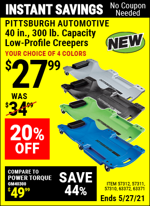 Harbor Freight Tools Coupons, Harbor Freight Coupon, HF Coupons-40 in. 300 lb. Capacity Low-Profile Creeper, Blue