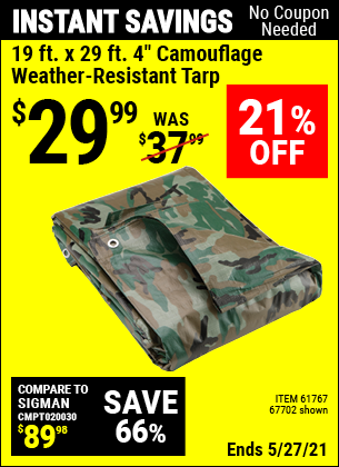 Harbor Freight Tools Coupons, Harbor Freight Coupon, HF Coupons-19 ft. x 29 ft. 4 in. Camouflage All Purpose/Weather Resistant Tarp